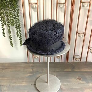 Vintage Navy Blue Cloche Hat with Mesh Overlay